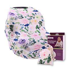 Floral Nursing Cover for Breastfeeding – Ultra Soft and Stretchy Fabric – Breastfeeding Scarf, B ...