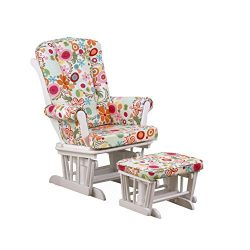 Cotton Tale Designs Glider Colorful Floral on White with Ottoman, Lizzie
