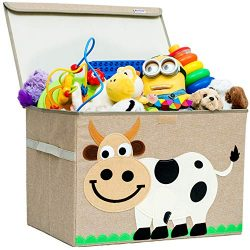Hurricane Munchkin Large Toy Chest | Canvas Soft Storage Bin with Lid for Toy Storage, Books, St ...