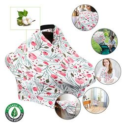 Nursing Cover,Baby Car Seat Covers Carseat Canopy for Babies Breastfeeding Cover,360 5-1 Multi ...