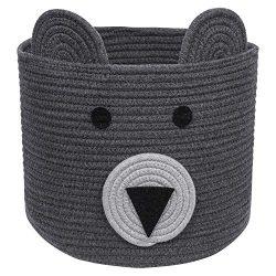 Bear Basket, Cotton Rope Basket, Woven Laundry Hamper, Toy Storage Bin for Kids, Clothes in Bedr ...