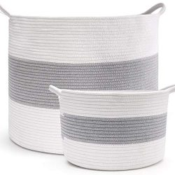 HAN-MM XXXL Extra Large Storage Baskets, 2PCS Laundry Baskets, Blanket Basket Cotton Rope Set (L ...