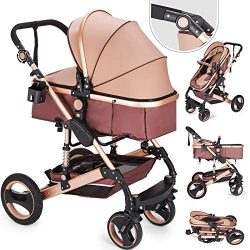 Happybuy Baby Stroller 2 in 1 Portable Baby Carriage Stroller Anti-Shock Springs Foldable Luxury ...