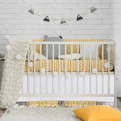 CO-AVE White Baby Crib Skirt Dust Ruffle Nursery Crib Bedding Skirt with Droplets Trim for Baby  ...