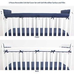 CaSaJa 3 Pieces Soft Reversible Microfiber Crib Rail Cover Set for 1 Front Rail and 2 Side Rails ...