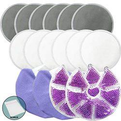 Jalousie Reusable Bamboo Fiber Nursing Pads and Breast Therapy Gel Pads Bundle with Bonus Laundr ...