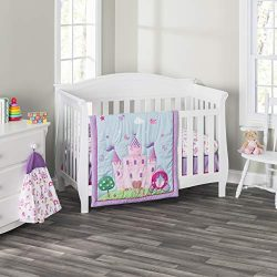 Everyday Kids 3 Piece Girls Crib Bedding Set -Princess Storyland – Includes Quilt, Fitted  ...