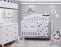 OptimaBaby Black White Polka Dot Pattern 6 Piece Baby Nursery Crib Bedding Set