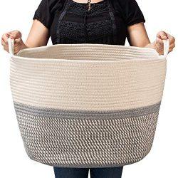 BASKETCASE XXXLarge Cotton Rope Basket Large (21.7″ x 21.7″ X 13.8″) for Stora ...