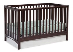 Storkcraft Hillcrest Fixed Side Convertible Crib, Espresso, Easily Converts to Toddler Bed Day B ...