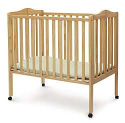 Delta Children Folding Portable Mini Baby Crib with Mattress, Natural
