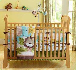Wowelife Safari Nursery Bedding Upgraded Jungle Crib Bedding Set 7 Piece Lion and Elephant Baby  ...