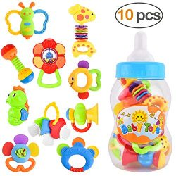GotechoD Baby Rattles Teether Rattle Set, Shaker Grab Rattle Baby Infant Newborn Toys Early Educ ...