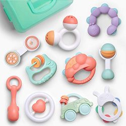 Gizmovine Baby Toys Rattles Set, Infant Grasping Grab Toys, Spin Shaking Bell Musical Toy Set Ea ...