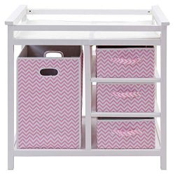 HONEY JOY Baby Changing Table, Diaper Storage Nursery Station with Hamper and 3 Baskets (White+Pink)