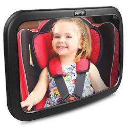 Baby Car Mirror, DARVIQS Car Seat Mirror, Safely Monitor Infant Child in Rear Facing Car Seat, W ...