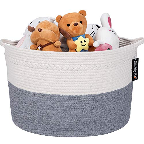 Buddy Pro Extra Large Cotton Rope Basket 22″ X 14″ | Blanket Basket with Handle | To ...