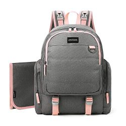 mommore Large Capacity Diaper Backpack Baby Nappy Bags with Changing Pad, Pink