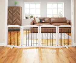 PAWLAND 96-inch Extra Wide Dog gate for The House, Doorway, Stairs, Freestanding Foldable Wire P ...