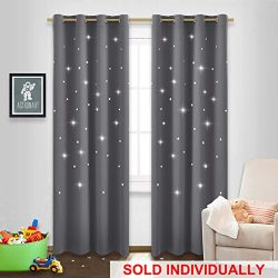 NICETOWN Twinkle Star Curtain for Nursery – Starry Night Sleep-Enhancing Cosmic Themed Cur ...