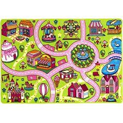 Mybecca Kids Rug Fun Land Play Rug 8 x 11 Non Slip Gel Backing Size approximate: 7′ feet 2 ...