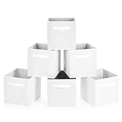 MaidMAX Collapsible Storage Bins, Set of 6 Foldable Fabric Storage Cubes Containers Organizers B ...