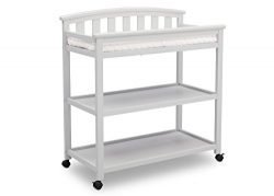 Delta Children Arch Top Changing Table with Casters, Bianca White