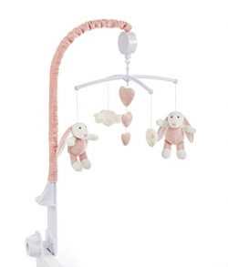 Baby Brielle Girl Bunny Musical Soother Crib and Bassinet Nursery Room Mobile Set