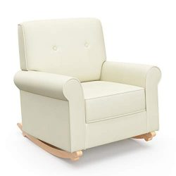 Graco Harper Tufted Rocker, Oatmeal Cleanable Upholstered Nursery Rocking Chair, Converts to Sta ...