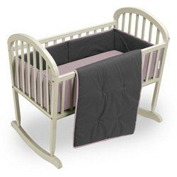 Babykidsbargains Reversible Cradle Bedding Set, Pink/Grey, 18″ x 36″