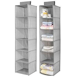 mDesign Long Soft Fabric Over Closet Rod Hanging Storage Organizer with 6 Shelves for Child/Kids ...
