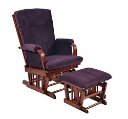 Artiva USA Home Deluxe Microfiber Cherry Wood Glider and Ottoman Set, Royal Purple