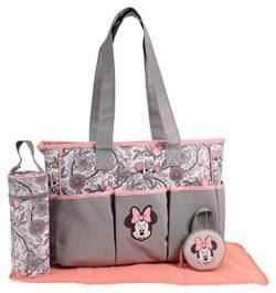 Disney Girls Minnie Mouse Multi Pc Large Diaper Bag Set, Floral Print, Grey