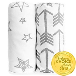Fitted Crib Sheet Set | Arrows & Stars | 100% Premium Jersey Knit Cotton | Super Soft and Sa ...