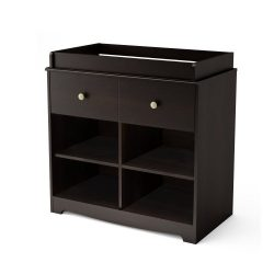 South Shore Little Small 1-Drawer Changing Table with Cube Storage, Espresso