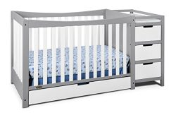 Graco Remi 4-in-1 Convertible Crib and Changer, Pebble Gray/White, Easily Converts to Toddler Be ...
