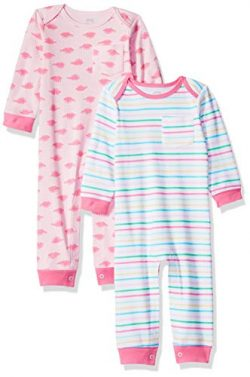 Amazon Essentials Baby Girls 2-Pack Coverall, Dino, 6-9M