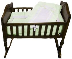 Baby Doll Bedding Royal Cradle Bedding Set, Mint