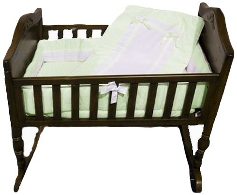 Baby Doll Bedding Royal Cradle Bedding Set, Mint