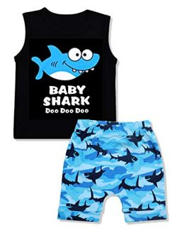 Baby Boy Clothes Baby Shark Doo Doo Doo Print Summer Cotton Sleeveless Outfits Set Tops + Short  ...