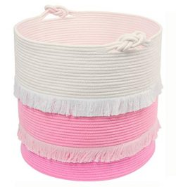 "Extra Large Woven Storage Baskets – 16"" x 17"" Cotton Rope Decorative Pink Hamp ..."