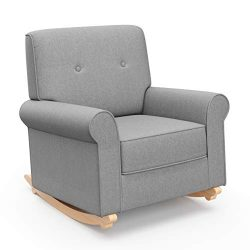 Graco Harper Tufted Rocker, Horizon Gray Cleanable Upholstered Nursery Rocking Chair, Converts t ...