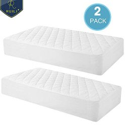 100% Waterproof 2 Pack Quilted Fitted Crib Mattress Protector, Soft Breathable Organic Bamboo Ba ...