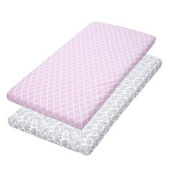 Bassinet Sheets, 2 Pack Pink Quatrefoil & Floral Fitted Soft Cotton Cradle Cover