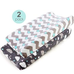 COSMOPLUS Stretch Fitted Changing Pad Cover -2 Pack Stretchy Changing Table Pad Covers for Boys  ...