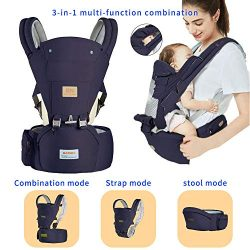 Baby Carrier for Newborn Infant Carrier Toddler Carrier Front and Back with Hip Seat Hood Soft & ...
