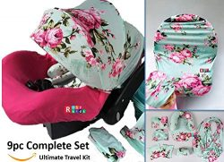 9pc Ultimate Set of Infant Car Seat Cover Canopy Headrest Blanket Hat Nursing Scarf, 25JE03