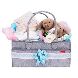 Groverly Baby Diaper Caddy Organizer – Portable Nursery Changing Table Storage Bag | Remov ...