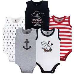 Hudson Baby Unisex Baby Sleeveless Cotton Bodysuits, Pirate Ship 5-Pack, 18-24 Months (24M)