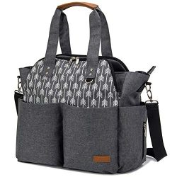 Lekebaby Diaper Bag Tote Satchel Diaper Messenger for Mom and Girls in Grey, Arrow Print